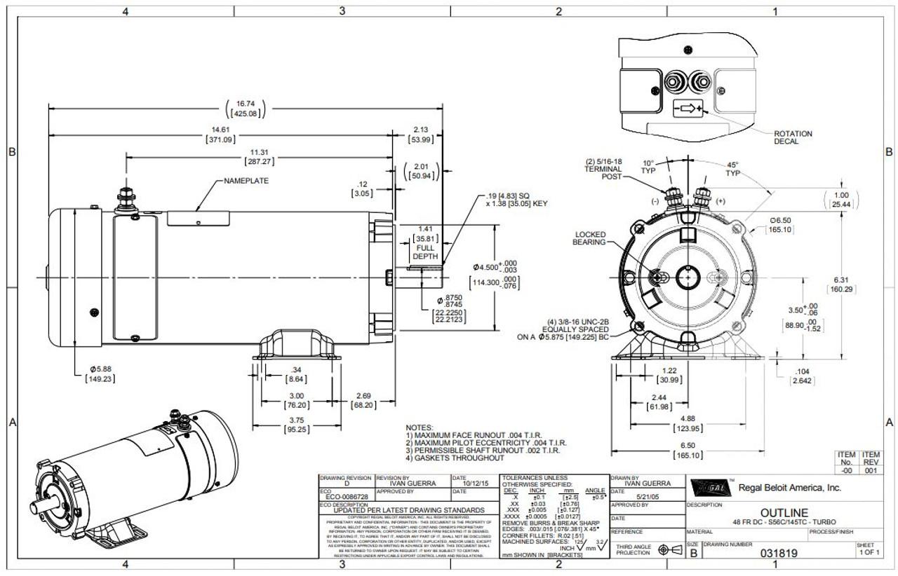 2 hp 1800 RPM 56CZ Frame 36 Volts DC TEFC Leeson Electric