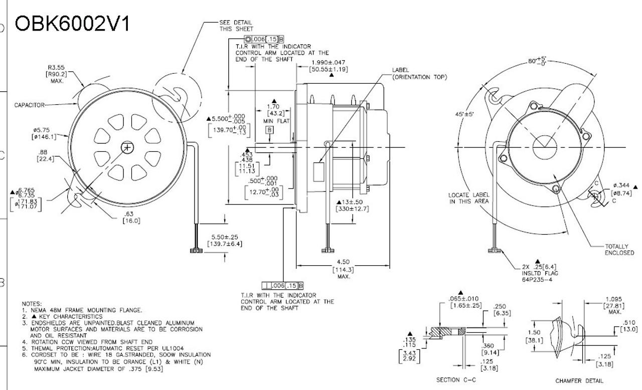 OBK6002V1 Century Oil Burner Motor 1/7 HP 3450 RPM 48M