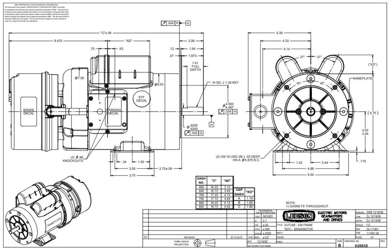 1 hp 1725 RPM 56C Frame TEFC C-Face (Rigid Base) Brake