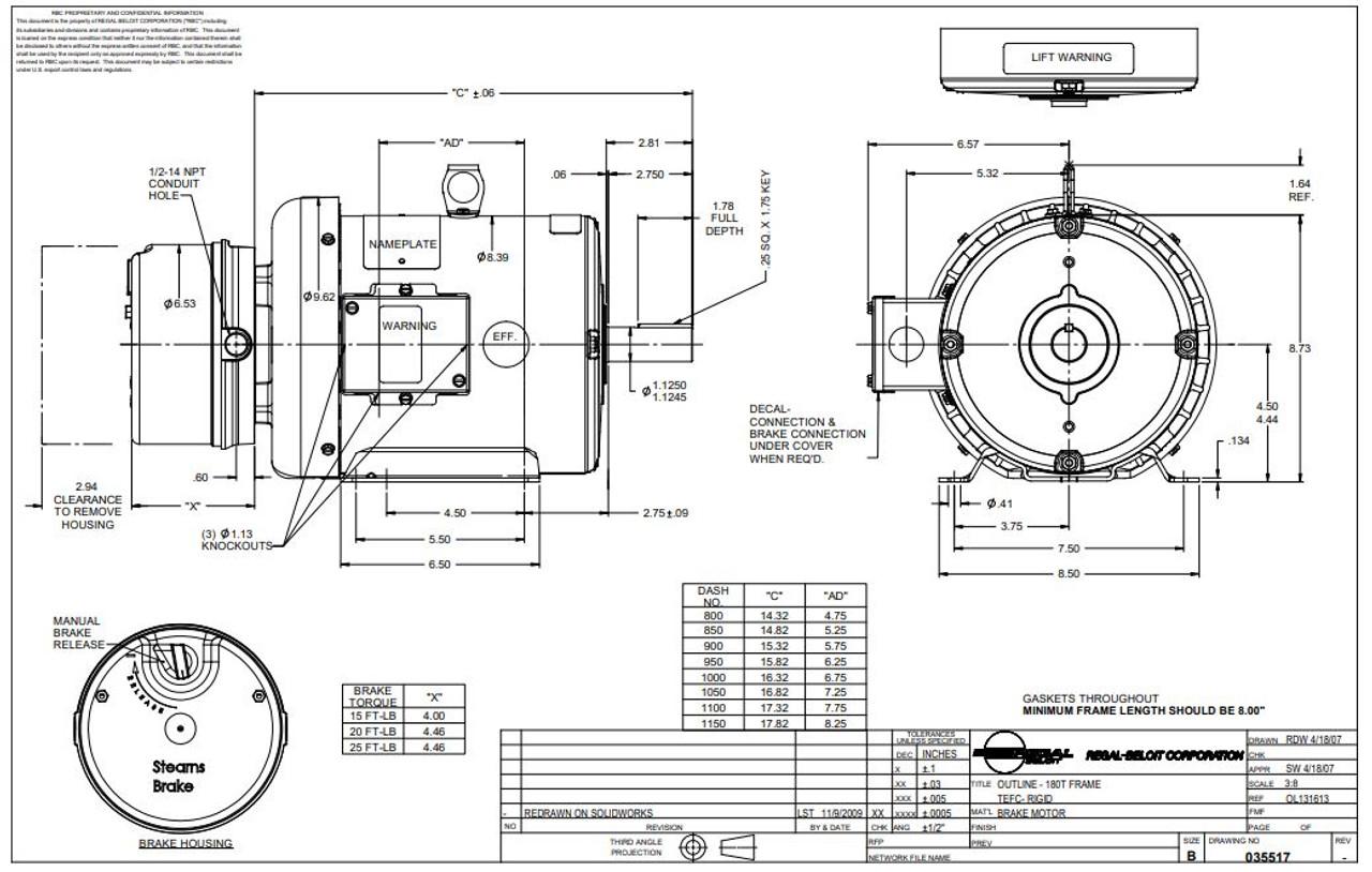 3 hp 1800 RPM 182T Frame TEFC Brake Motor 230/460V Leeson