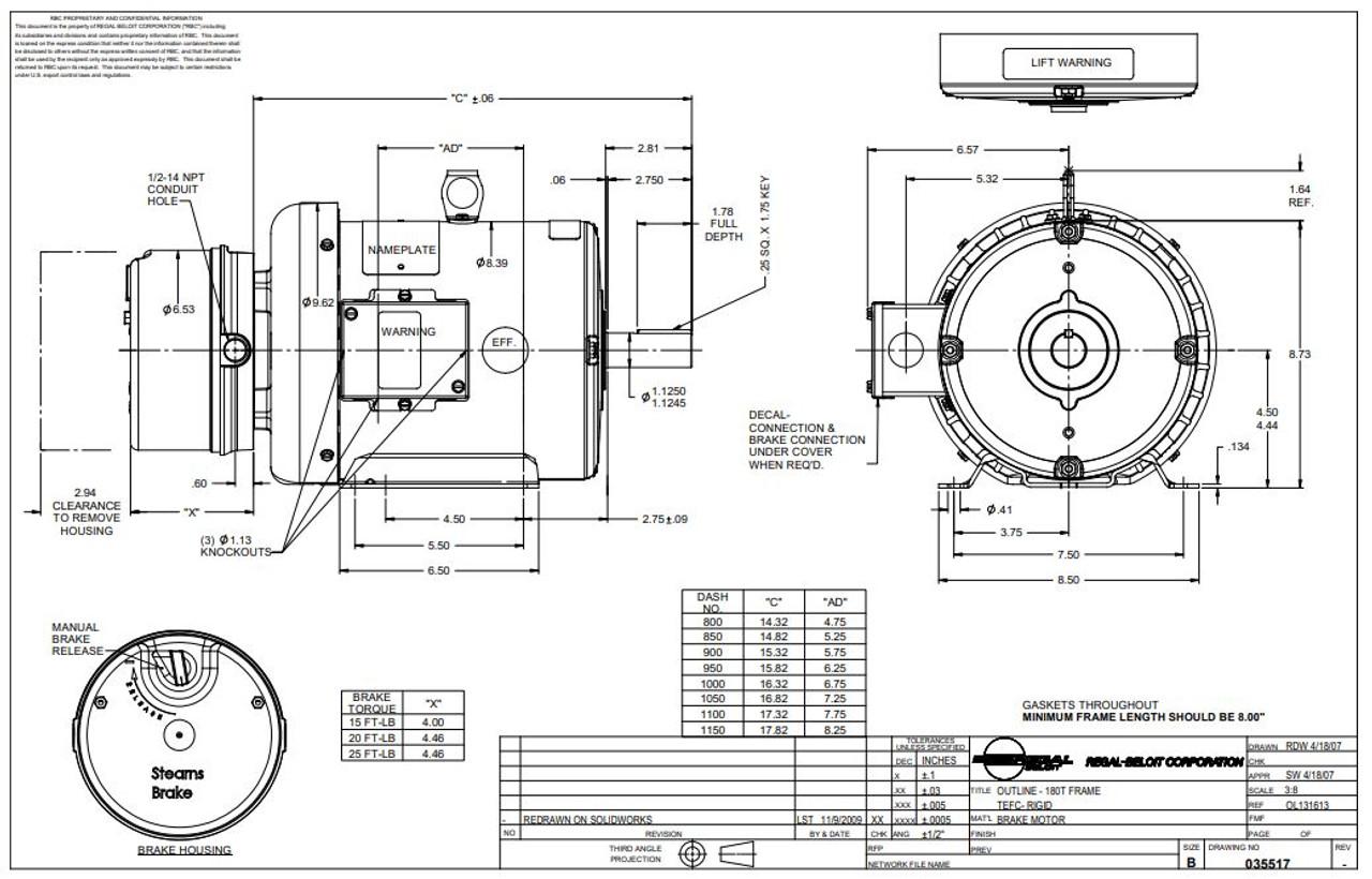 5 hp 1800 RPM 184T Frame TEFC Brake Motor 230/460V Leeson