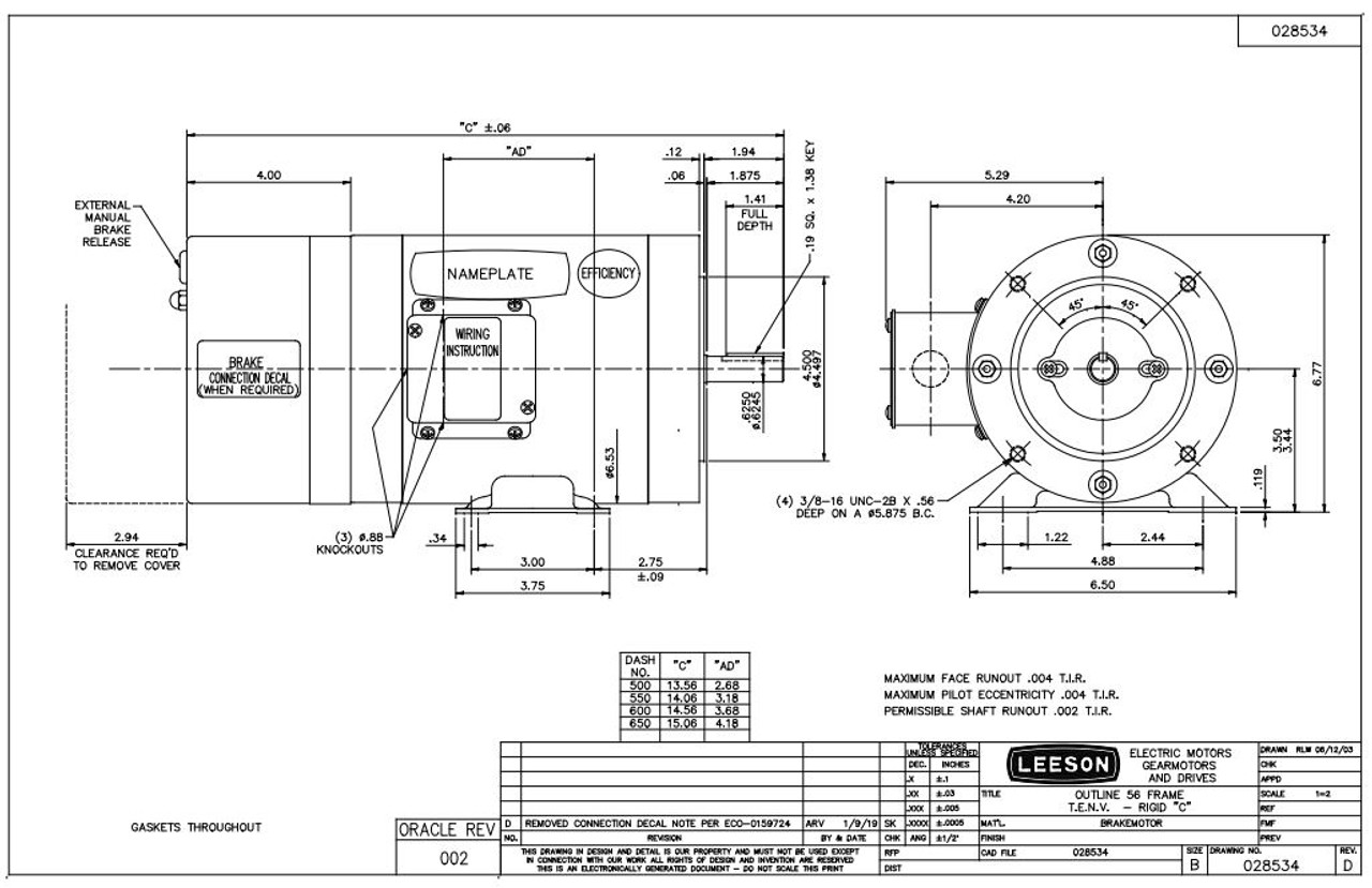1/3 hp 1800 RPM 56C Frame TENV C-Face (Rigid Base) Brake