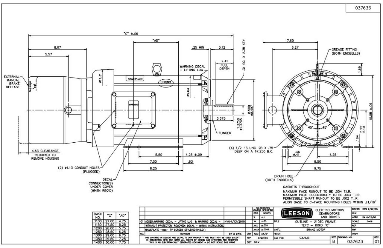 7.5 hp 1800 RPM 213TC Frame TEFC C-Face (Rigid Base) Brake