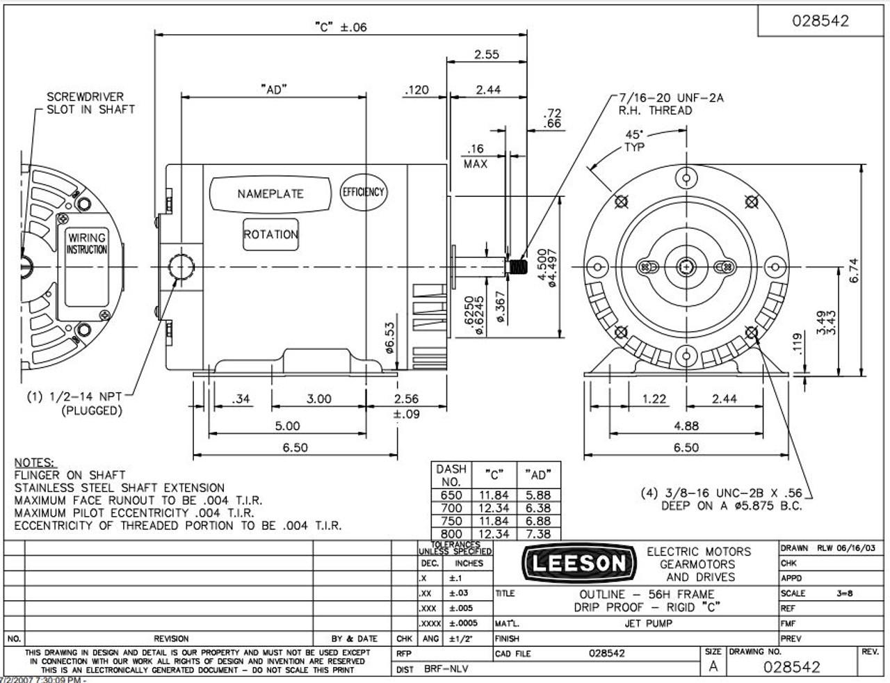 3 hp 3600 RPM 56HJ Frame ODP C-Face (Rigid Base) 230/460V