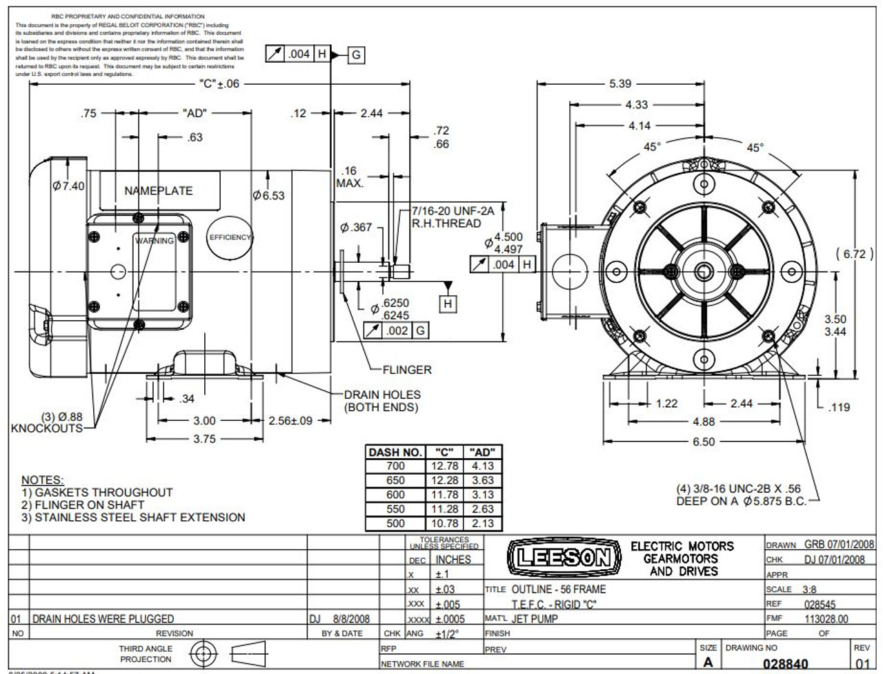 1 hp 3600 RPM 56J Frame TEFC C-Face (Rigid Base) 230/460V