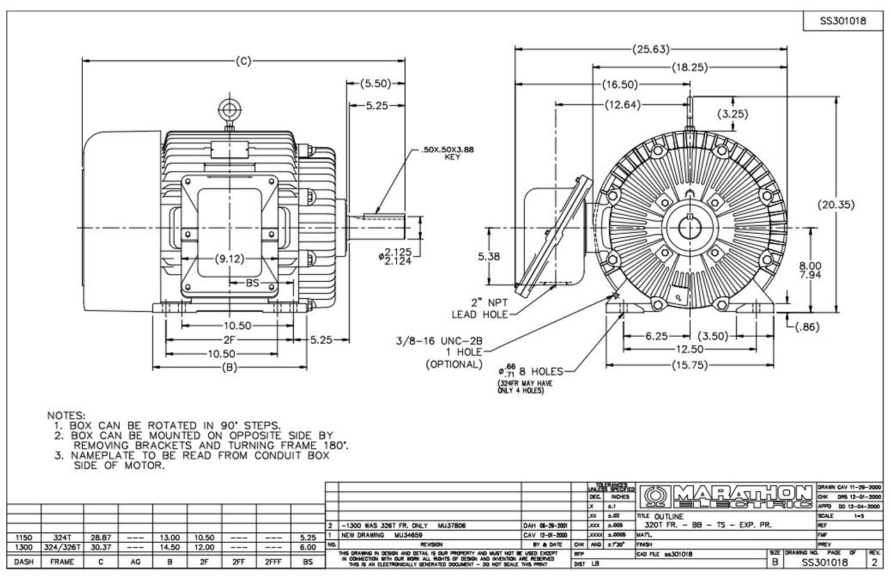 50 hp 1800 RPM 326T 230/460V TEFC Explosion Proof Marathon