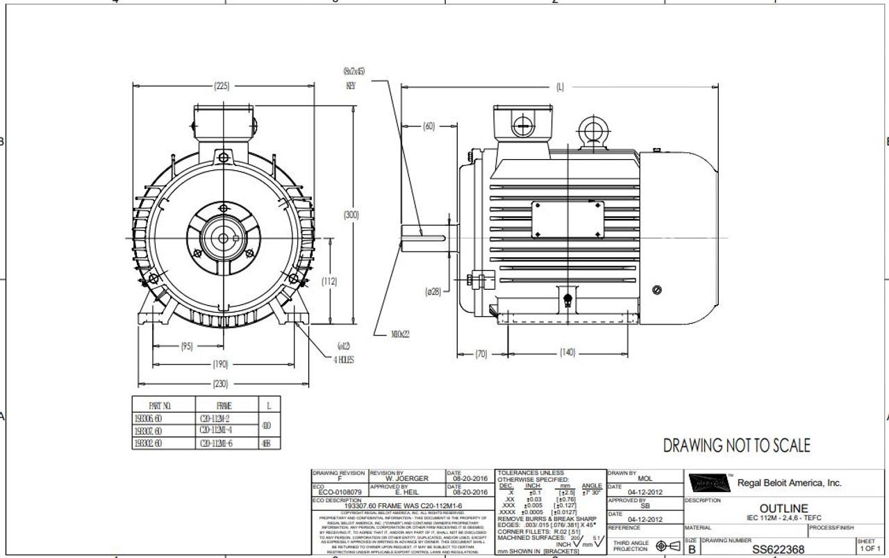 3 hp 2.2 kw 1200 RPM 112M Frame 230/460V Marathon Electric