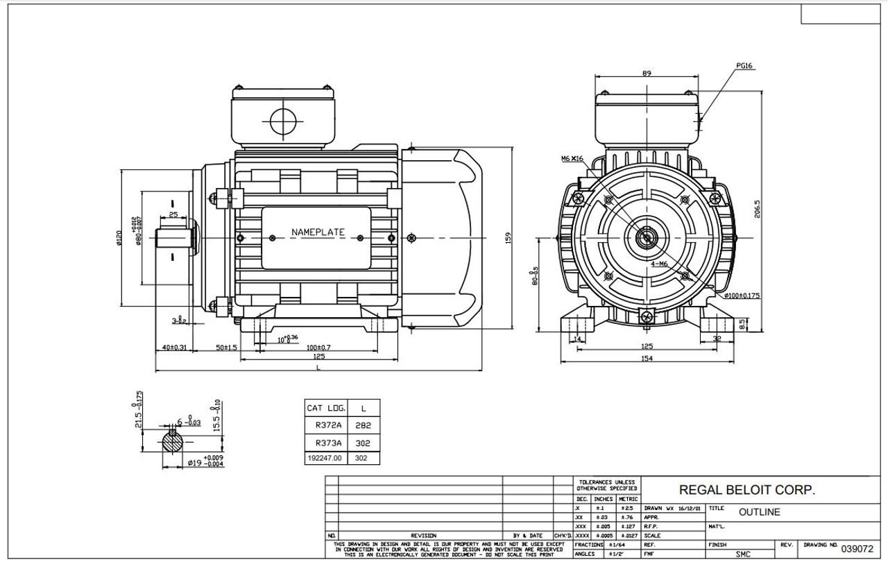 1.5 hp 1.1 kw 3600 RPM 80C Frame 230/460V TEFC C-Face
