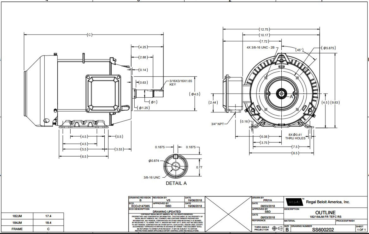 5 hp 3600 RPM 184JM Frame TEFC 230/460V Marathon Close