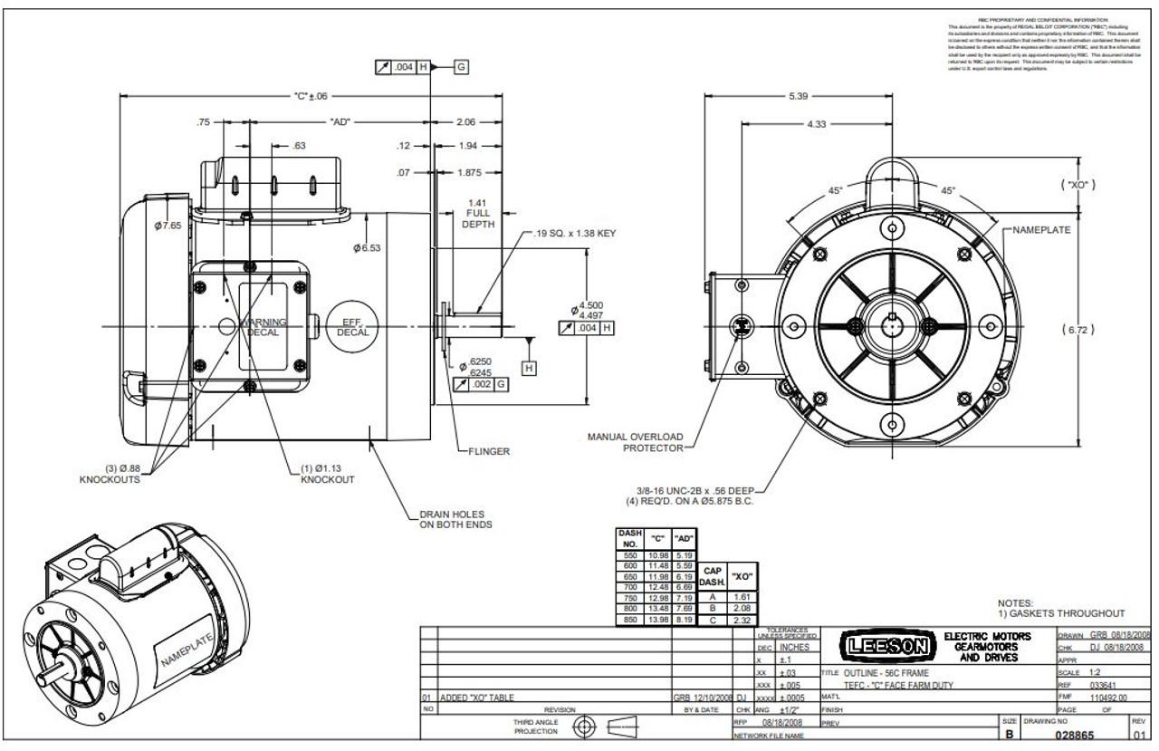 3/4 hp 1725 RPM 56C Frame (Farm Duty) 115/230 Volts Leeson