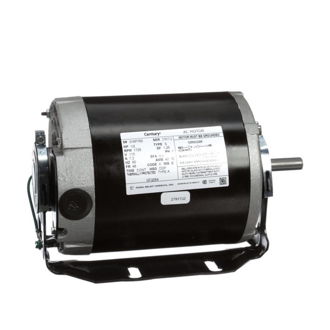 Gf2054 Century 1 2 Hp 1725 Rpm 48 Frame 115v Belt Drive Furnace Motor