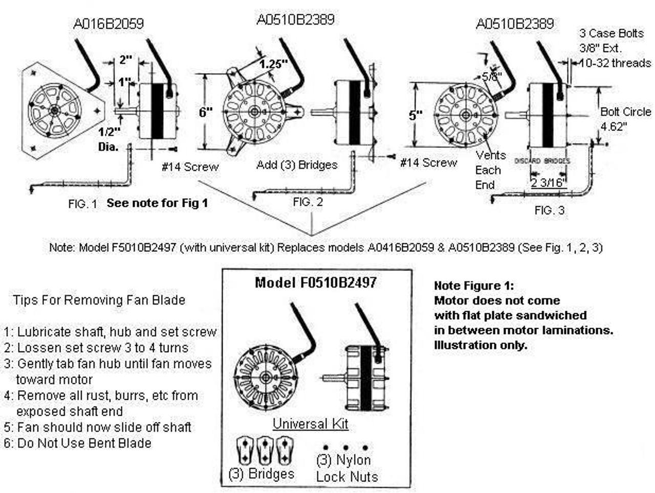 Lomanco Power Vent Attic Fan Motor 1/10 hp 1100 RPM 115