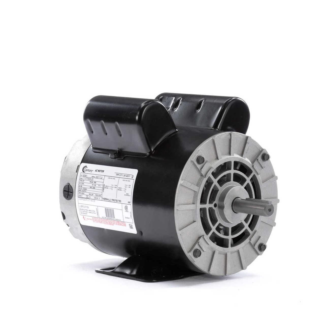 2 HP SPL 3450 RPM M56 Frame 115/230V Air Compressor Motor - Century J Century Motor Wiring Schematic on
