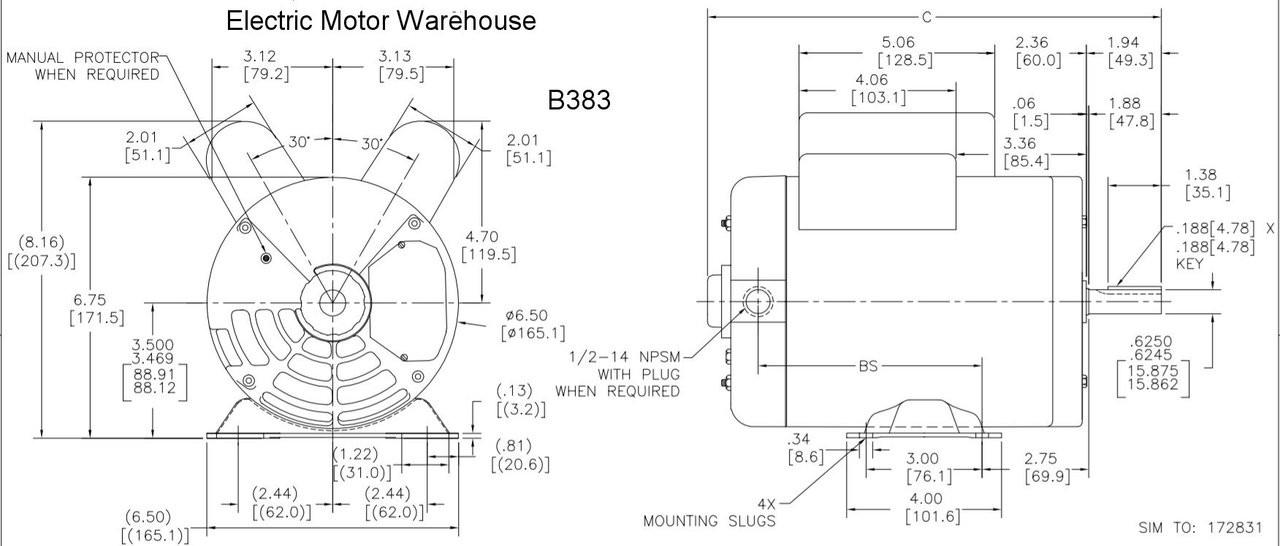 3 HP SPL 3450 RPM U56 Frame 115/230V Air Compressor Motor