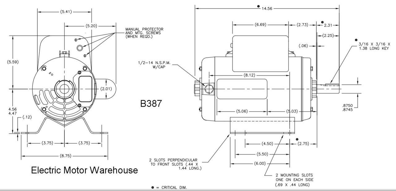 6 Hp 3450 Rpm R56y Frame 230v Air Compressor Motor