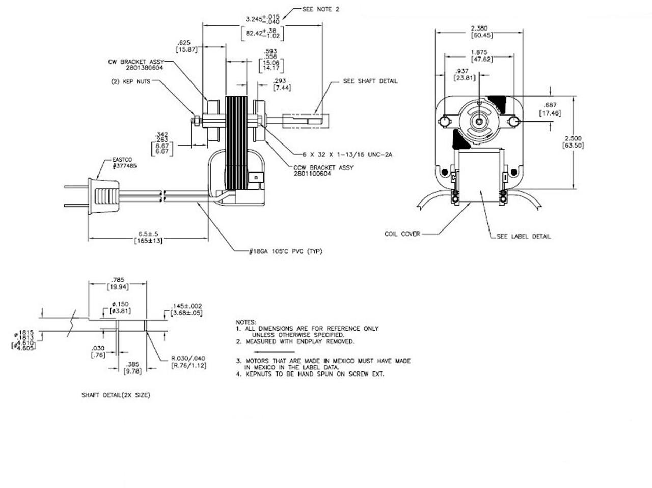 Fasco K1575 Universal Bathroom Fan Replacement Electric