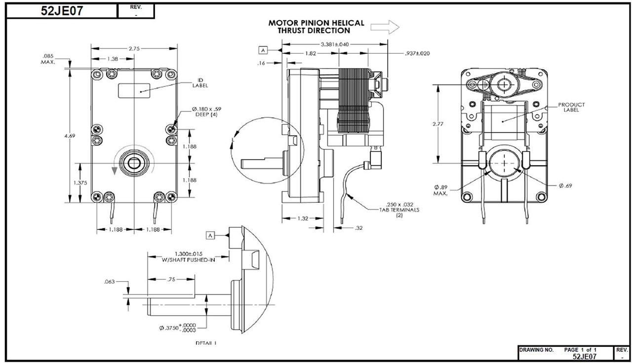 Dayton Model 52JE07 Gear Motor 3/8