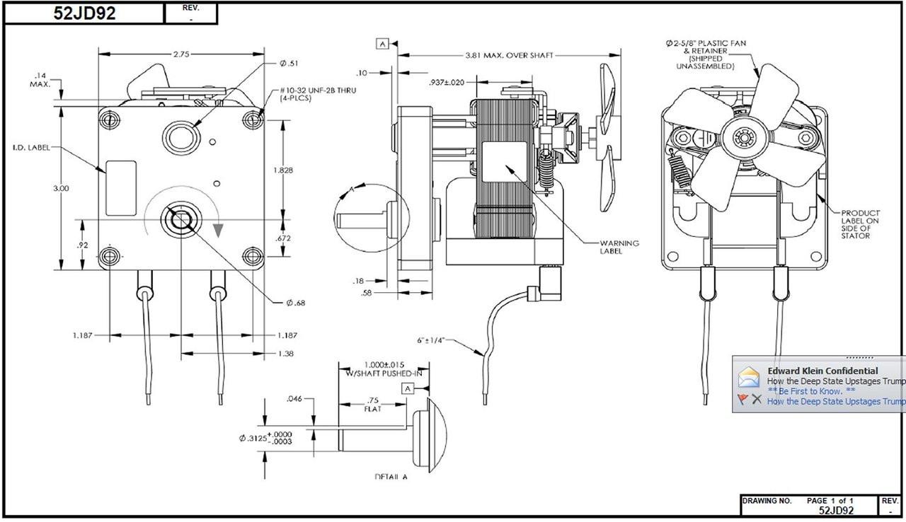 Dayton Model 52JD92 Gear Motor 25 RPM 1/70 hp 115V with
