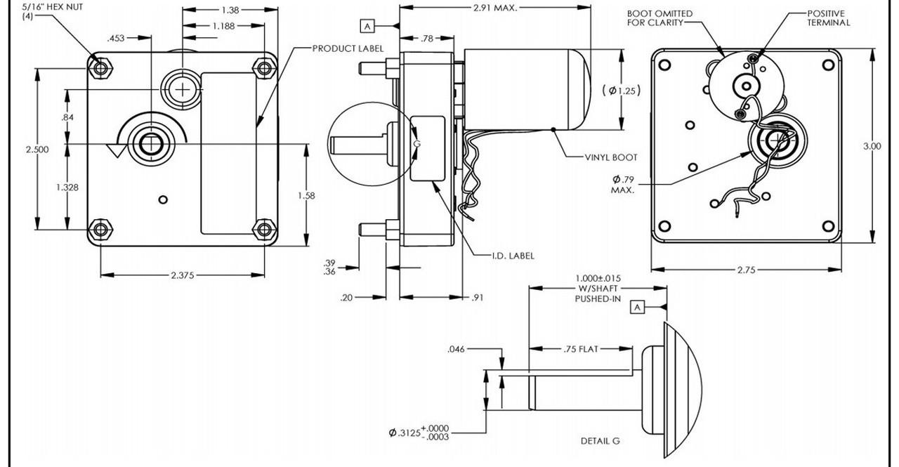 Dayton Model 52JE60 DC Gear Motor 45 RPM 1/50 hp 24VDC