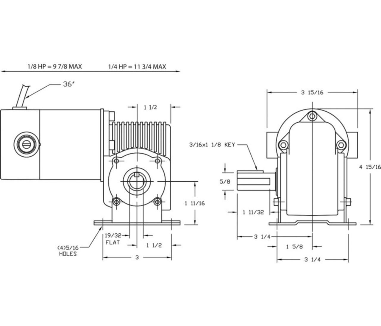 Dayton Model 3XA83 DC Gear Motor 360 RPM 1/4 hp TENV 90VDC