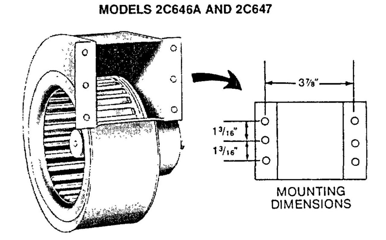 Dayton Model 2C646 DC Blower 176 CFM 1875 RPM 12 Volts DC