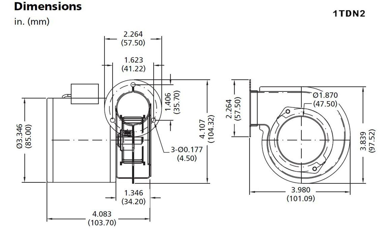 Dayton Model 1TDN2 Blower 12 CFM 3340 RPM 115V 60/50hz (2C782)