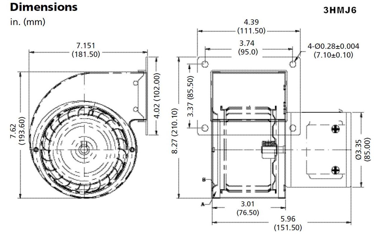 Dayton Blower 150 CFM 2500 RPM 208/230V Three Phase Model