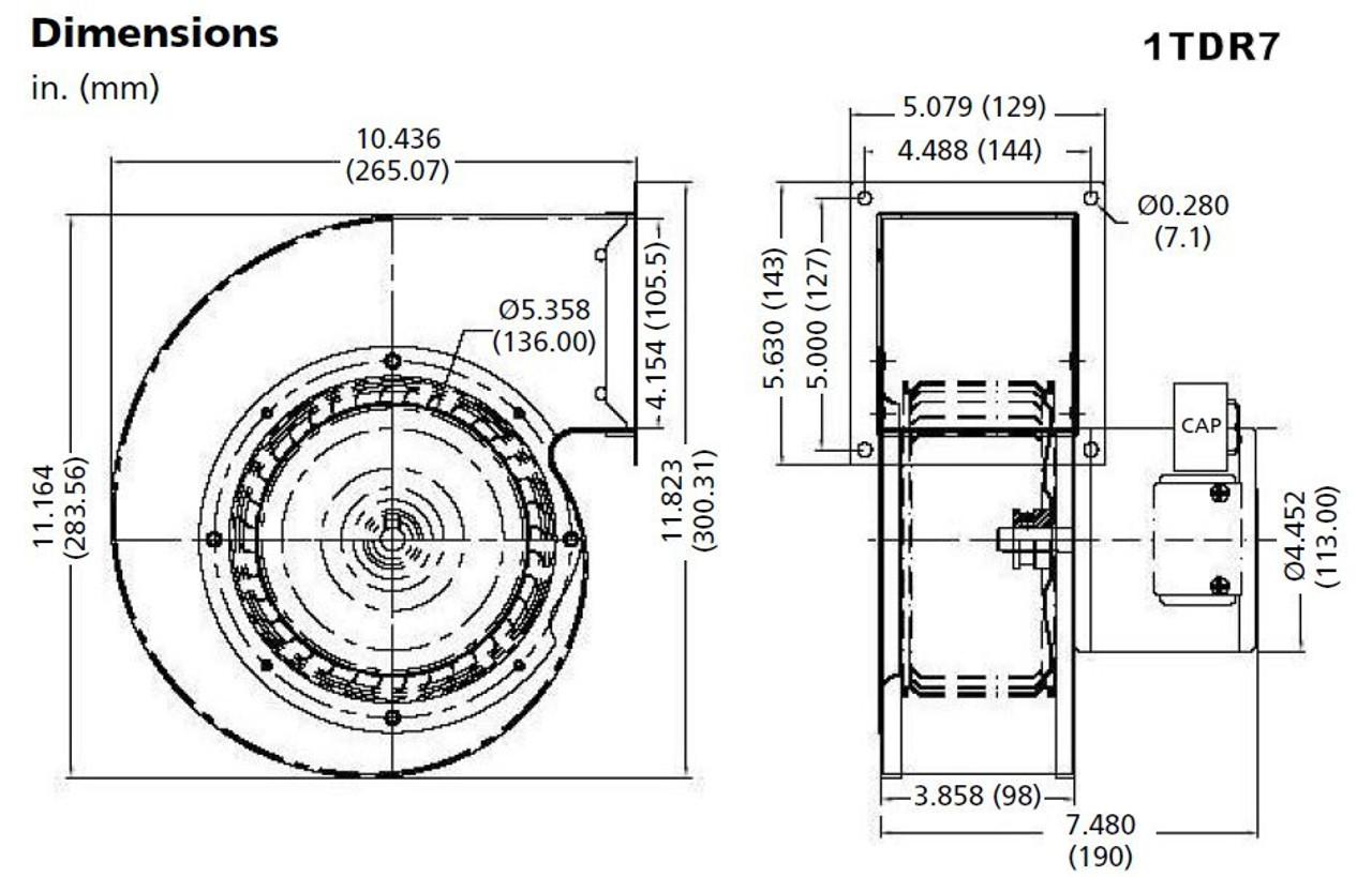 Dayton 1TDR7 Blower 485 CFM 1650 RPM 115V 60/50hz (4C444)
