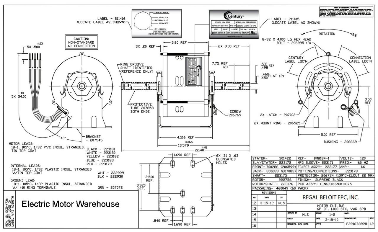 CS89 Century Brushless HVAC DC Motor, 1/10hp 120 Volt 3
