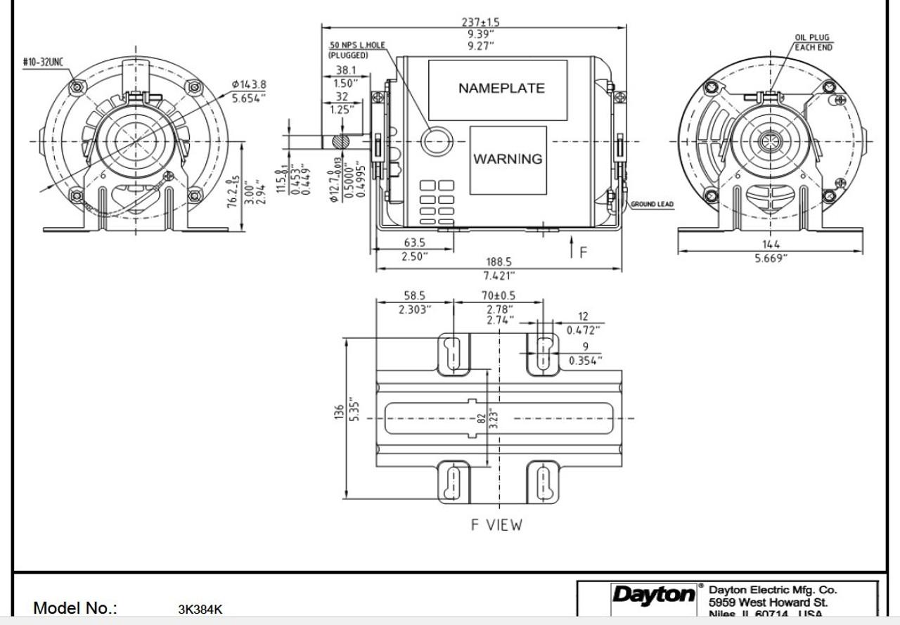 3K384 Dayton 1/3 hp 1725 RPM 115V Whole House Fan Motor