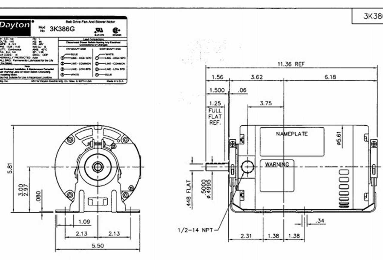1/3 hp 1725 RPM 2-speed 115V Whole House Fan Motor Dayton