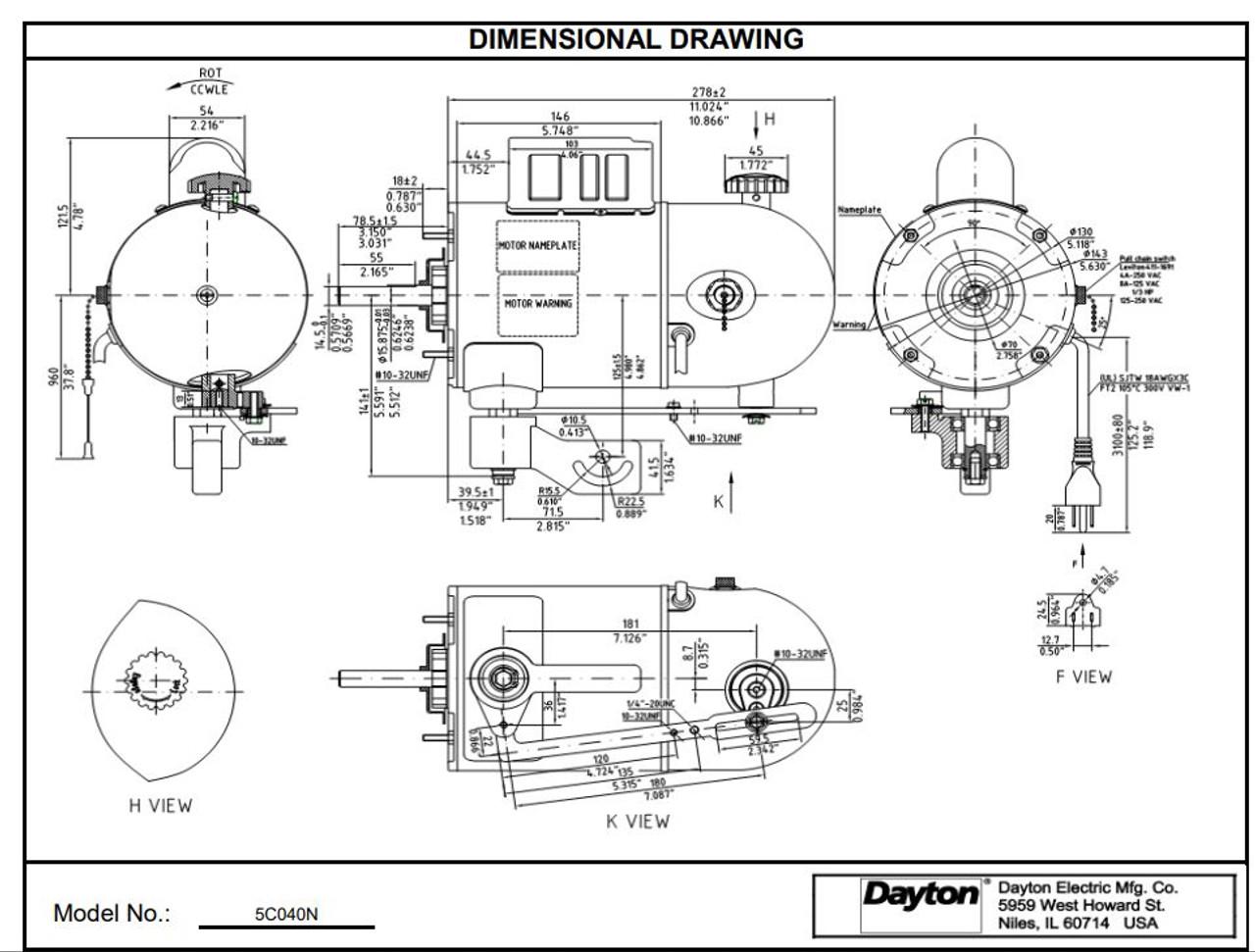 Oscillating Pedestal Fan Motor 2-Speed Motor 1/2hp 1075