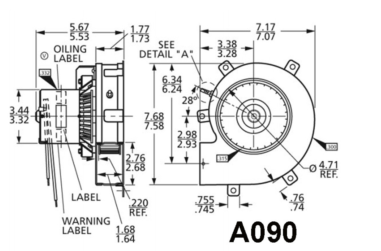 Fasco A090 Rheem Rudd (70-21496-01) Furnace Draft Inducer