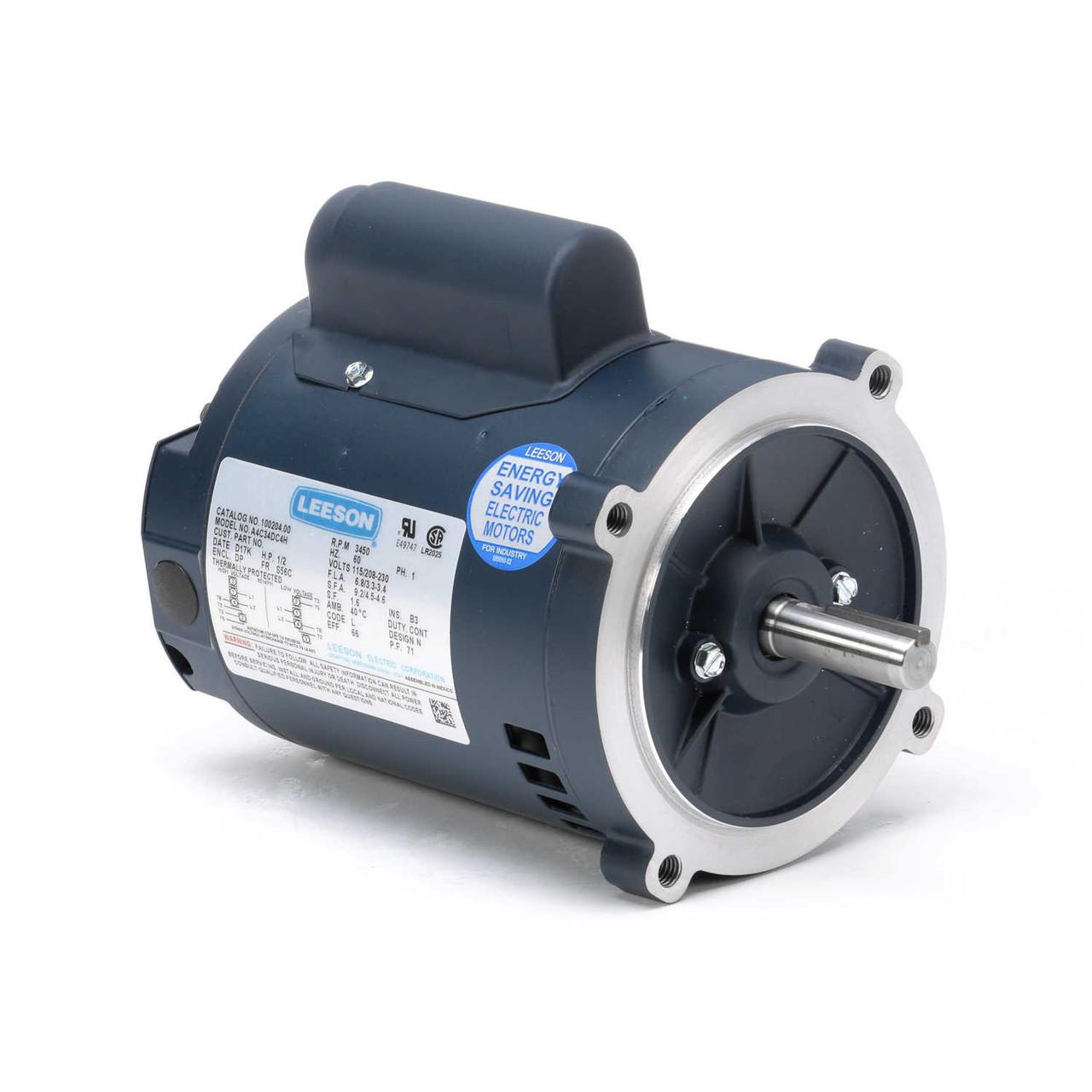 1/2 hp 3450 RPM 56C 115/208-230V Well Pump Motor Leeson # 100204Electric Motor Warehouse