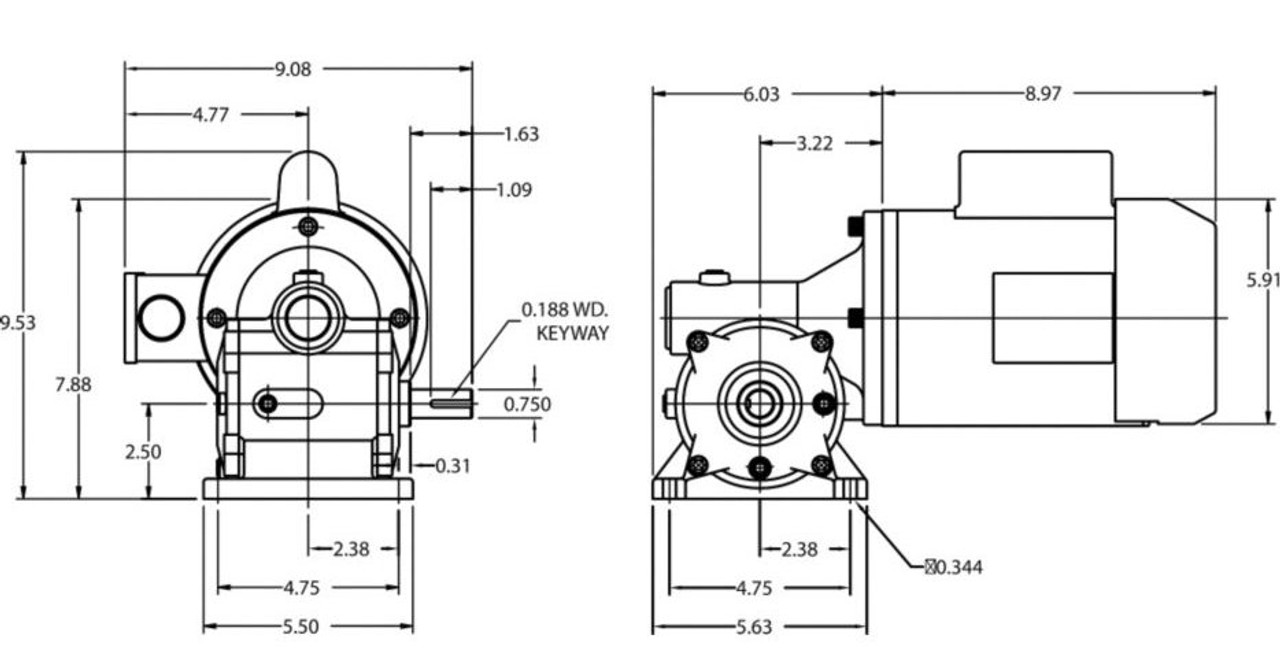 Dayton Gear Motor 1/2 hp 45 RPM 115/208-230 Volt 60 HZ # 4CVU3