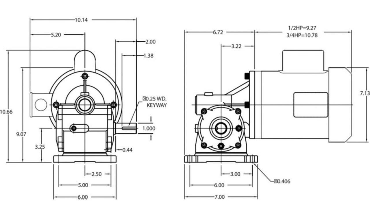 Dayton Gear Motor 1/2 hp 30 RPM 115/208-230 Volt 60 HZ # 4CVZ3