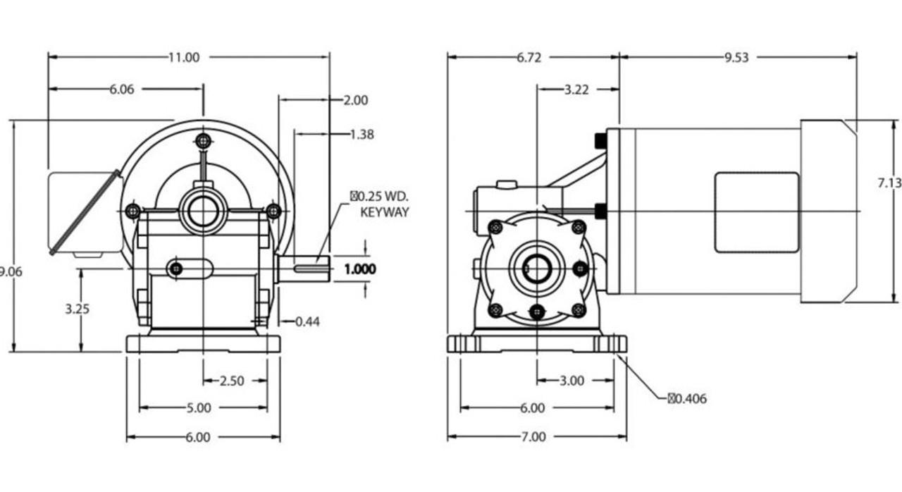 Dayton Gear Motor 2 hp 155 RPM 203-230/460 Volt 3 Phase