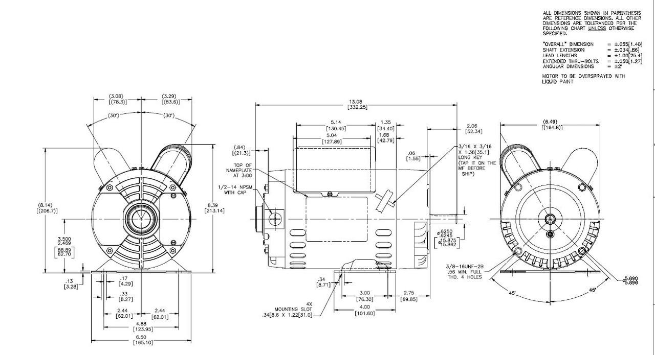 3/4 hp 1800 RPM 56C Frame ODP C-Face (rigid base) 115/230V