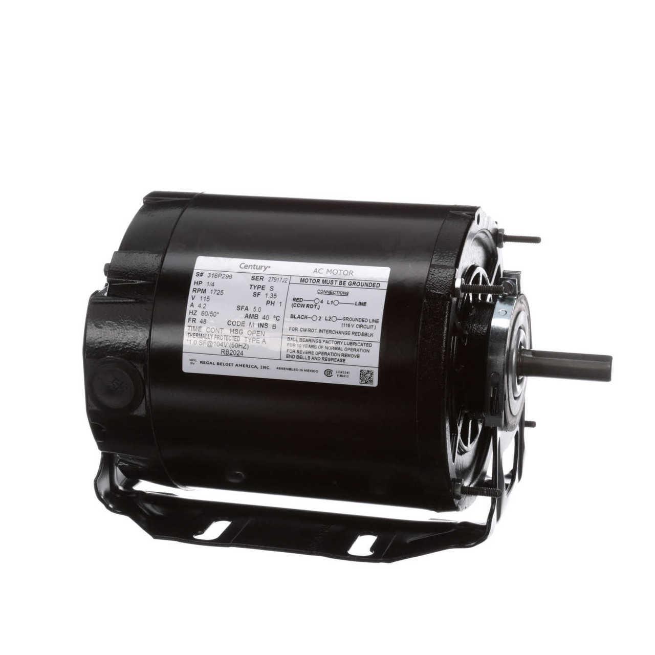 Century GF2024 1//4 for hp 1725 RPM 48 Frame 115V Belt Drive Furnace Motor