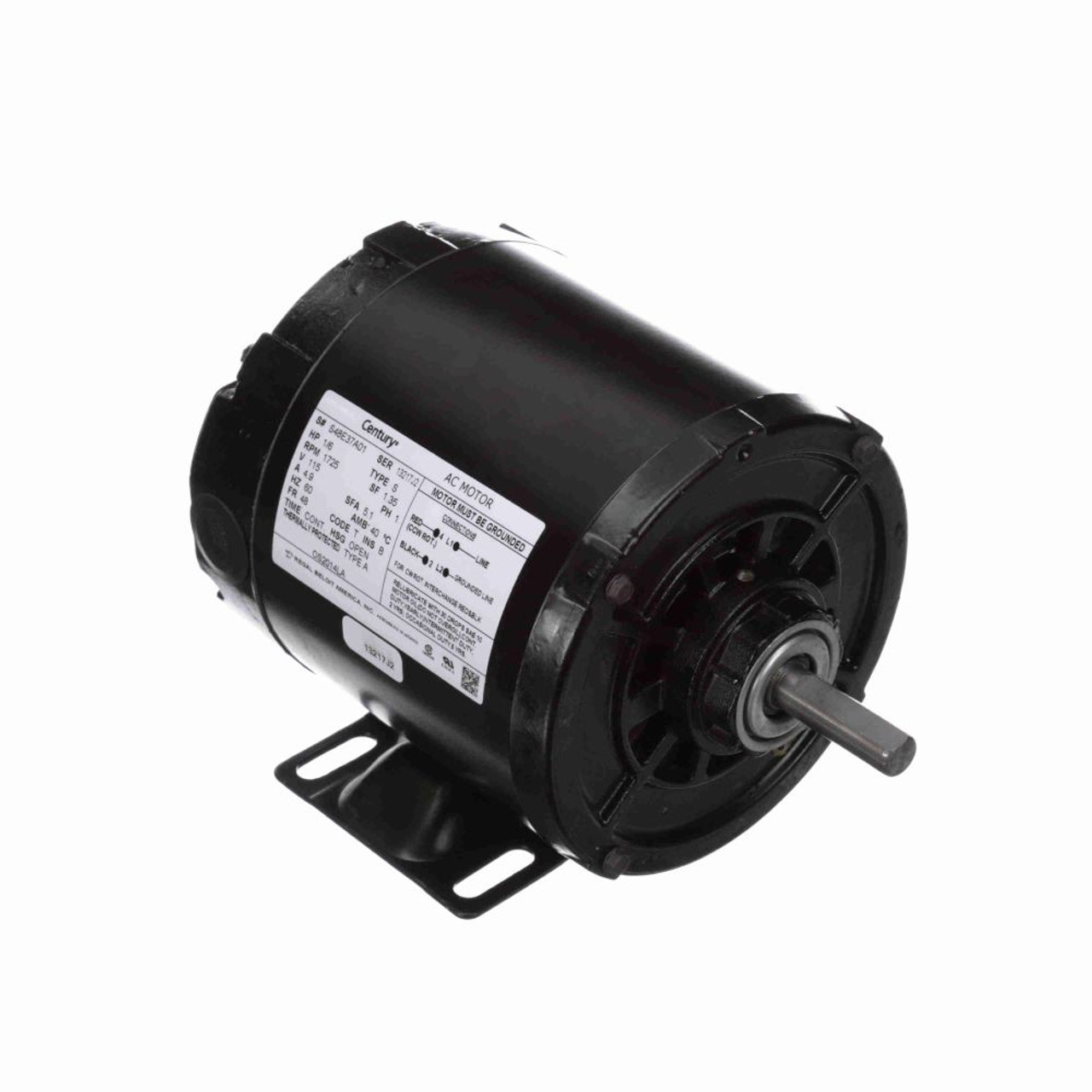 1  6 Hp 1725 Rpm 48 Frame 115v Split Phase Rigid Base Motor