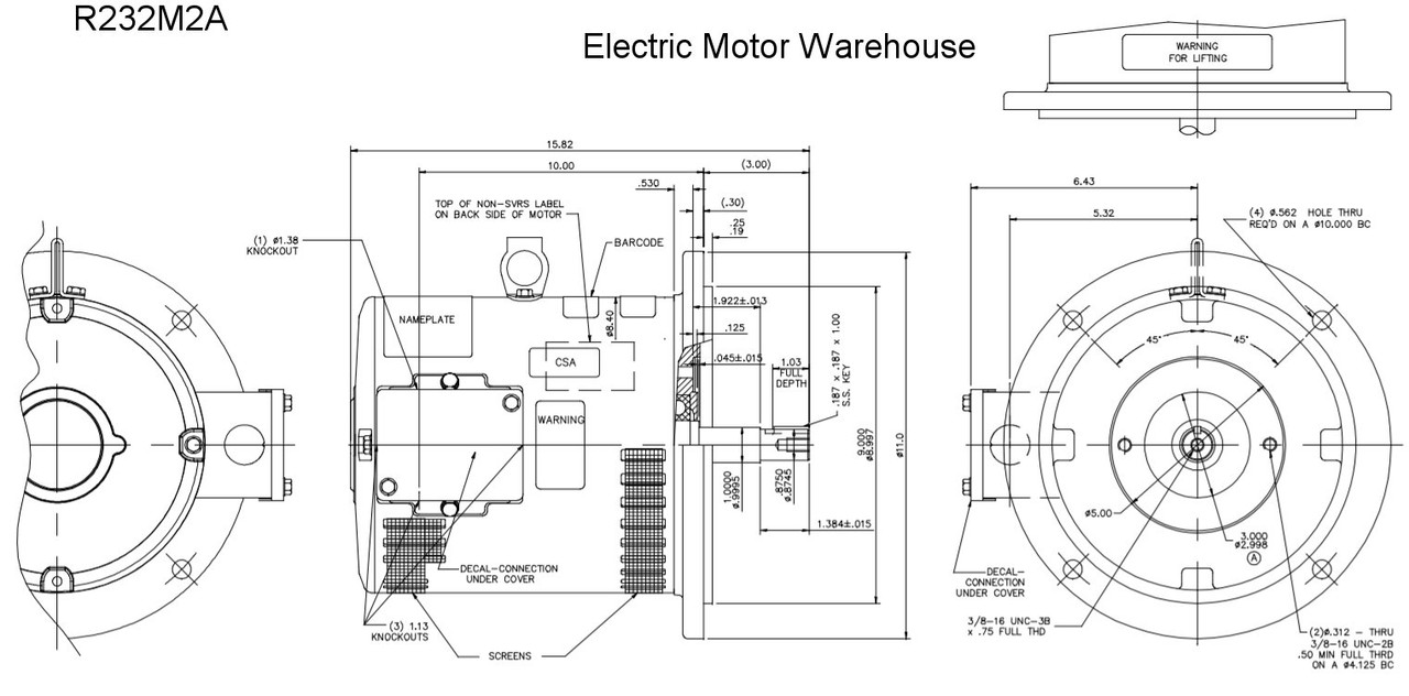R232M2A Century Purex 7.5 hp 3450 RPM 184TY Frame 208-230