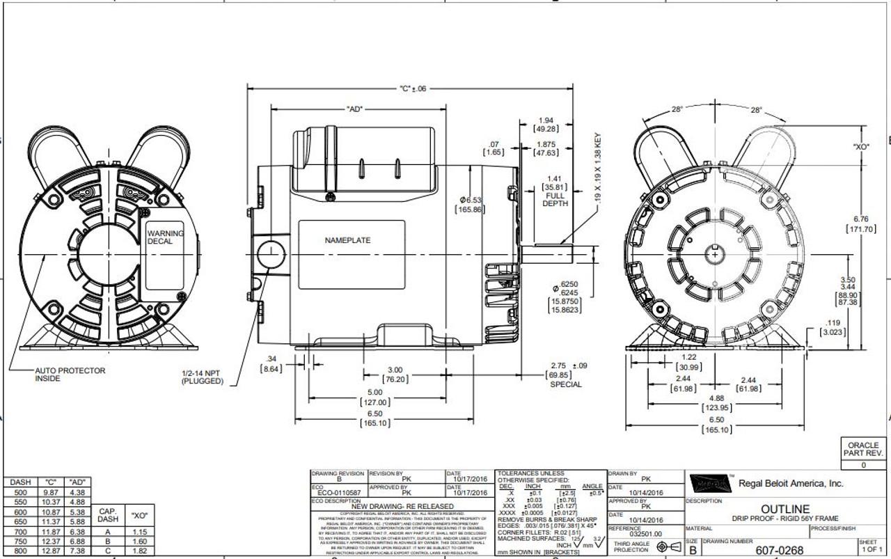 1 hp 1725 RPM 56 Frame 115/208-230 Volts Open Drip Leeson