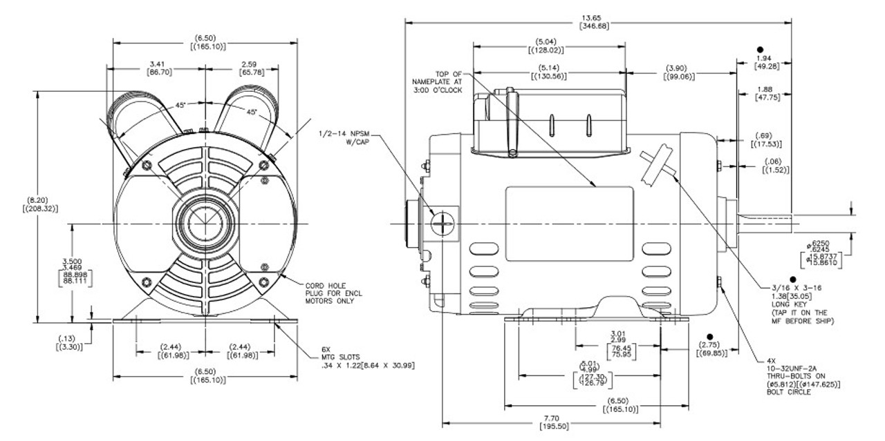 1 1/2 hp 1800 RPM 1-Phase 56 Frame ODP (rigid base) 115