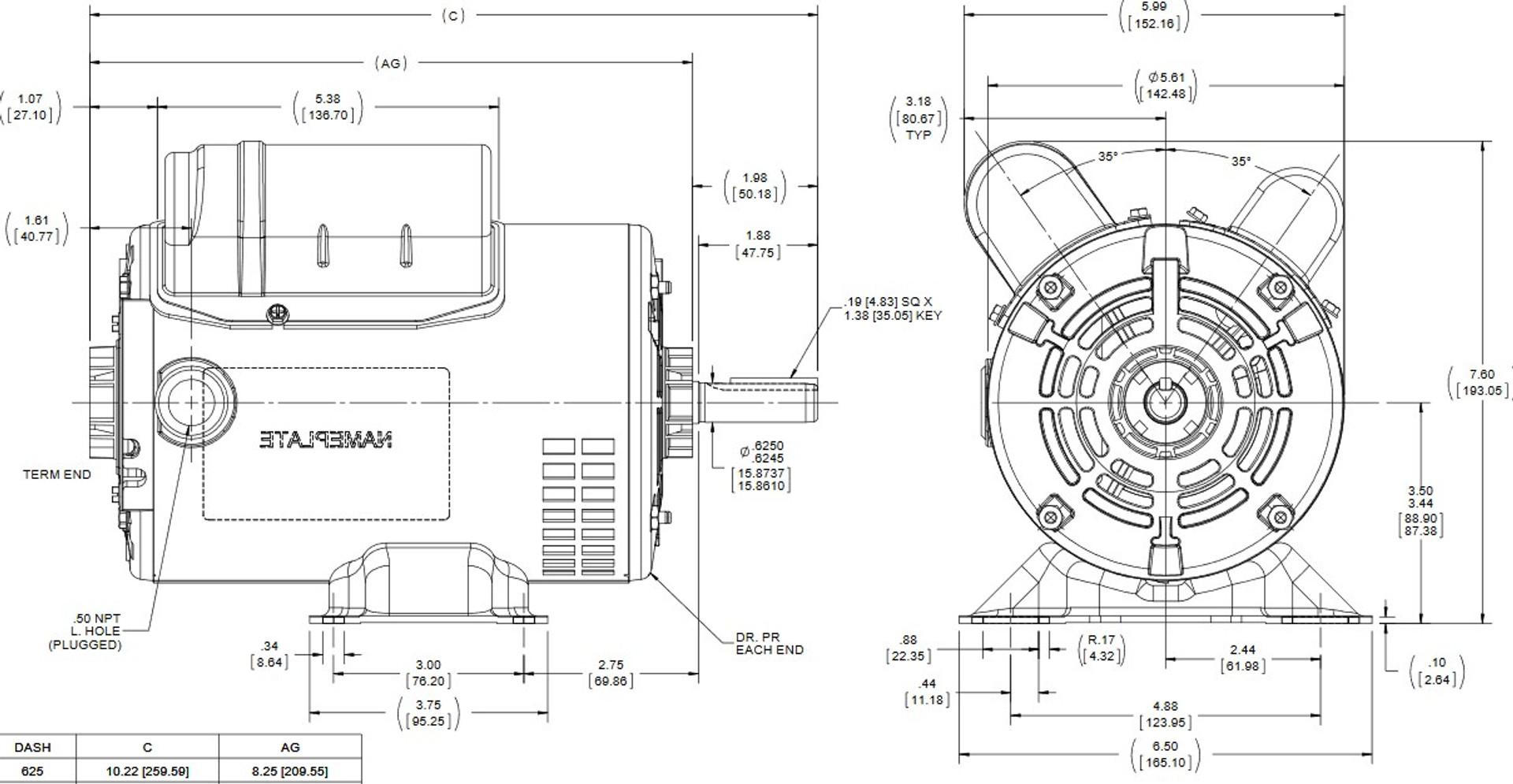 C167A Marathon 1/2 hp 1800 RPM 56 Frame 115/230V Open Drip