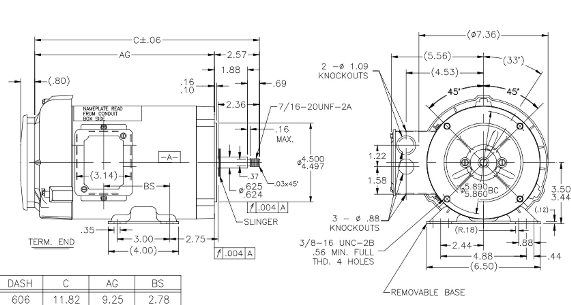 J062 Marathon 3/4 hp 3-Phase Jet Pump Motor 3600 RPM 208