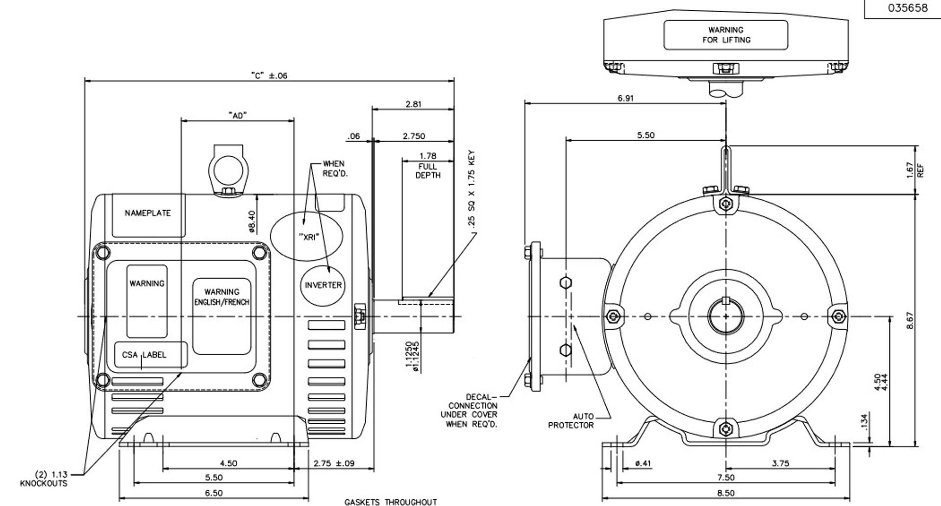 U428B Marathon 5 hp 1800 RPM 230/460V 3-Phase 184T Frame