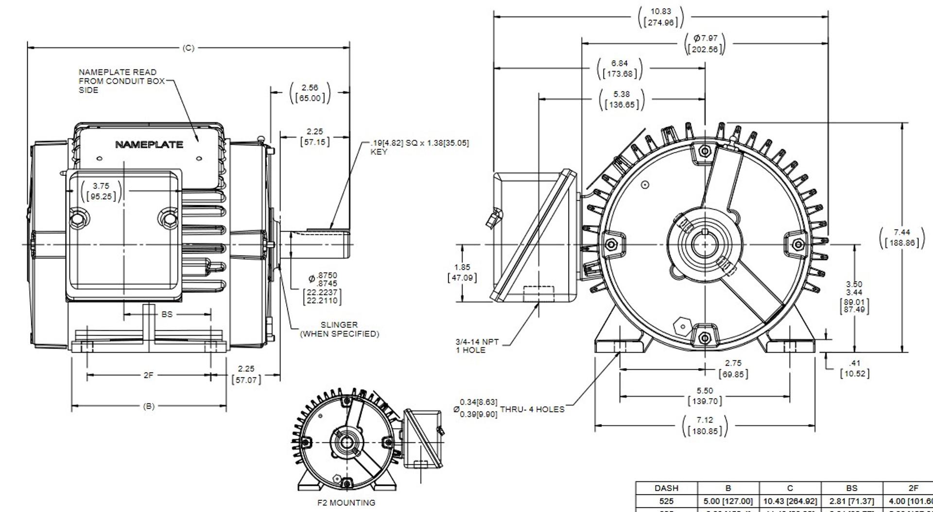 E648 Marathon Severe Duty 3/4 hp 1200 RPM 460V 3-Phase