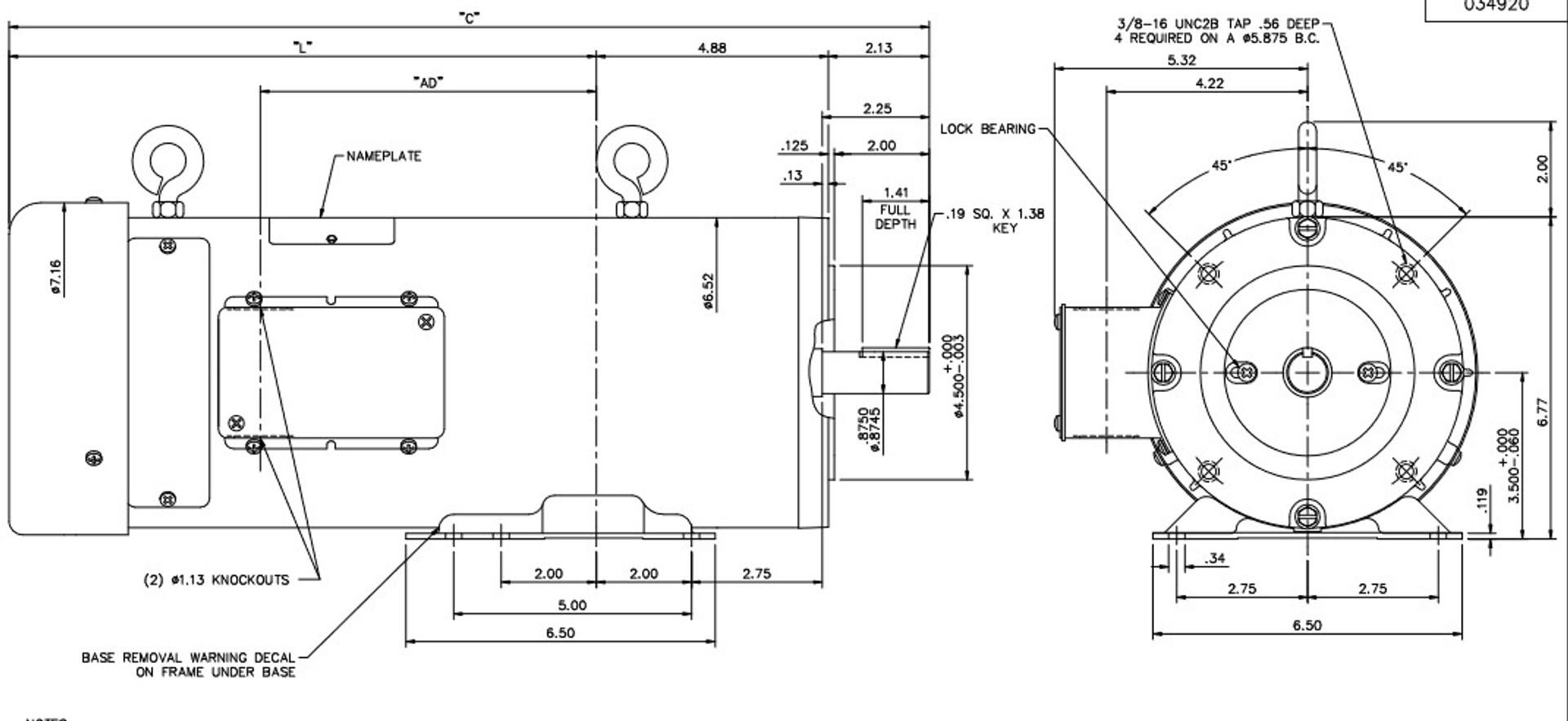 Z616 Marathon 2 hp 180 V DC SCR 1750 RPM Perm. Magnet C