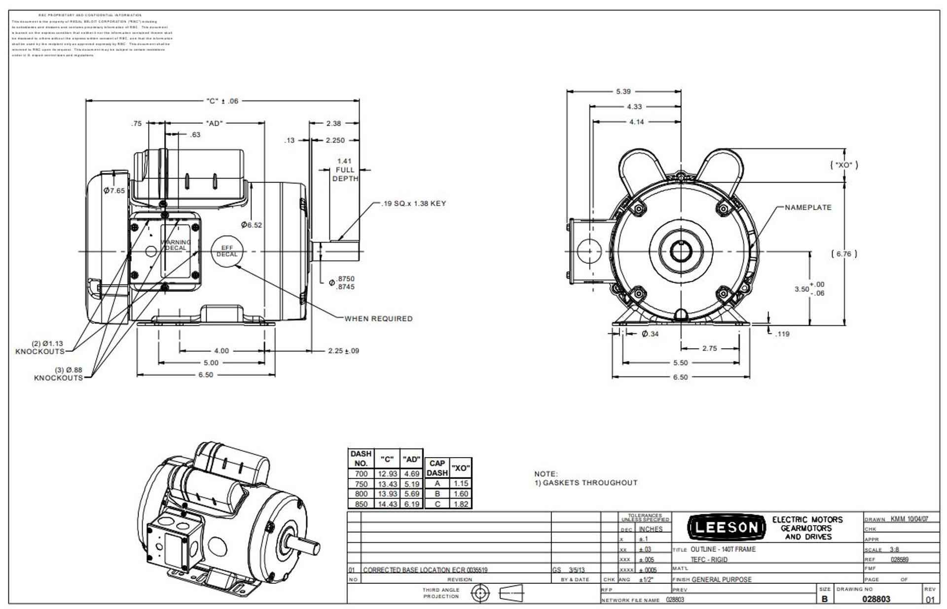 1 hp 1140 RPM 145T Frame TEFC 115/208-230 Volts Leeson