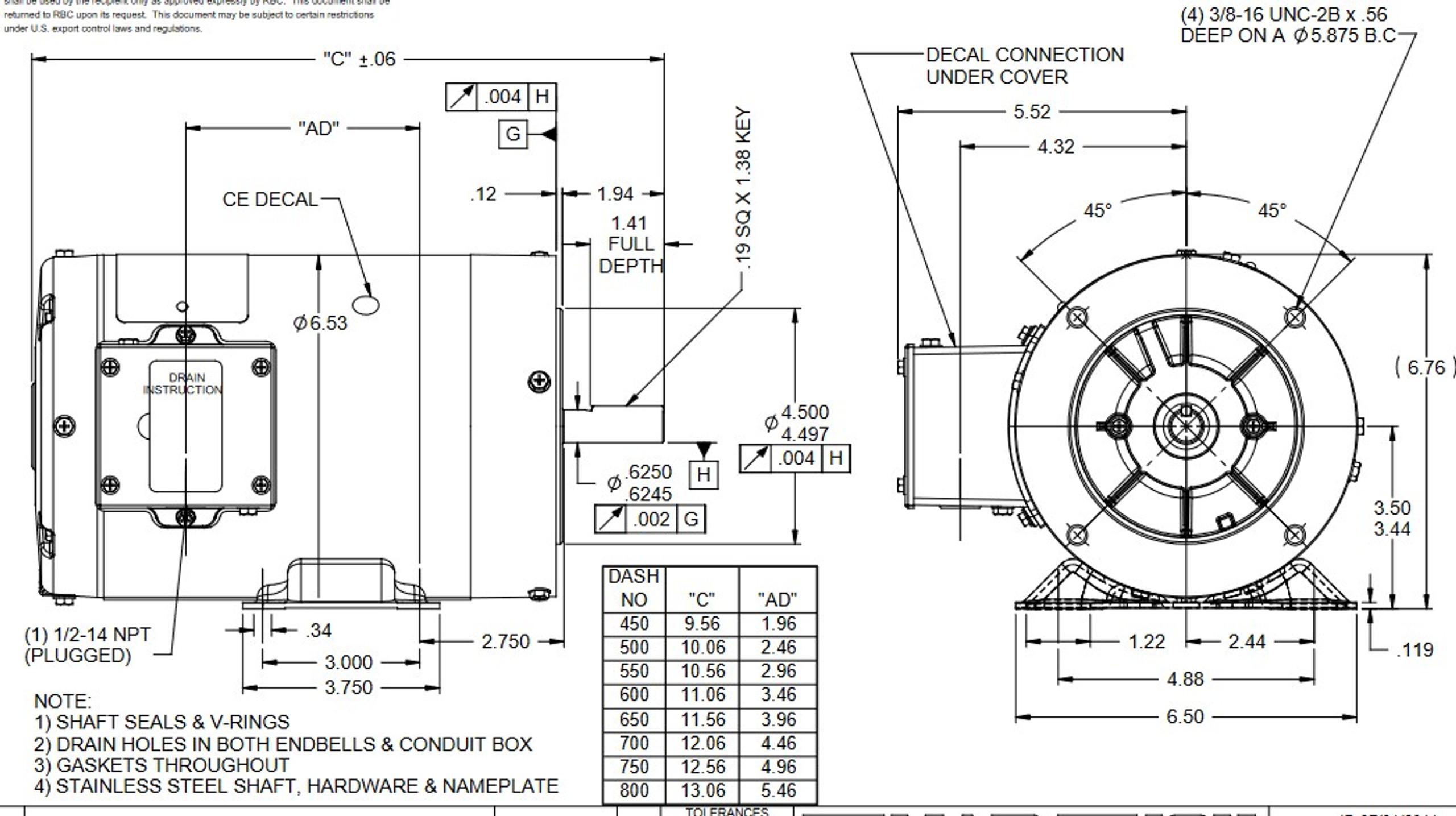 N620A Marathon 1/4 hp 1800 RPM 3-Phase 56C Frame TENV